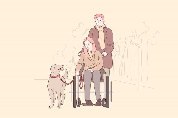 Behindertenunterstützung, liebe. behindertes junges mädchen mit mann im park, frau im rollstuhl, frau, die mit ehemann und hund geht, glückliche familie, die zusammen zeit verbringt. einfache wohnung