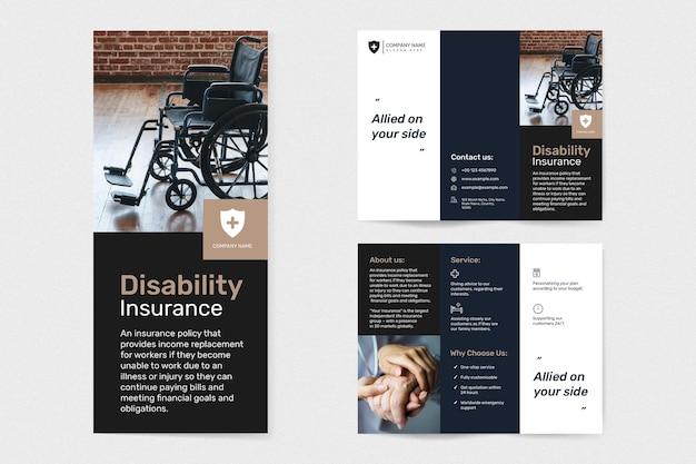 Behindertenversicherungsvorlagenvektor mit bearbeitbarem textsatz