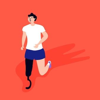 Behinderter athlet beim joggen