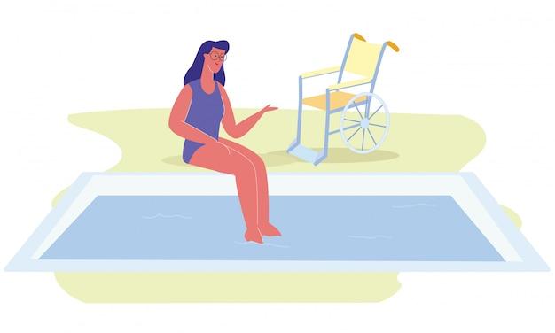 Behinderter karikatur-frauen-swimmingpool-rollstuhl