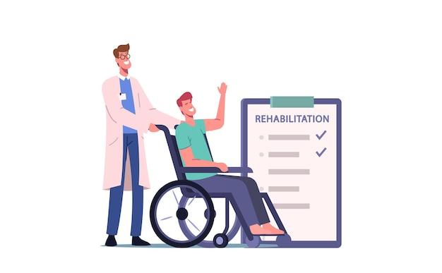 Behinderter männlicher charakter, der rollstuhl mit krankenschwester oder ärztlicher therapeutenunterstützung fährt