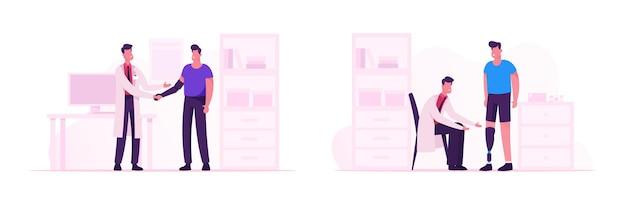 Behinderter mann besucht arzt zur rehabilitation und behandlung. patient mit bein- und armprothese kommuniziert mit dem arzt im krankenhaus zur erholungsunterstützung cartoon-flache vektor-illustration