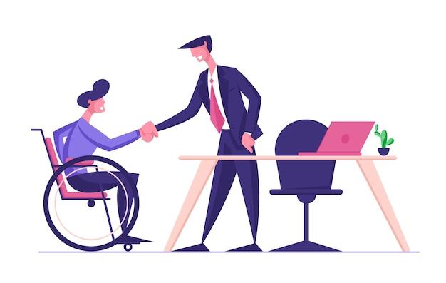 Behinderter mann im rollstuhl händeschütteln mit partner oder chef im büro