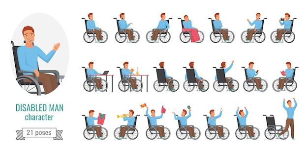 Behinderter mann mit behinderung gesundheitsproblem, posen gesetzt