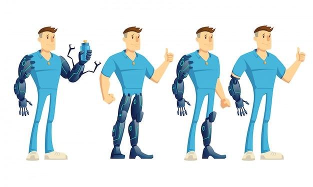 Behinderter mann mit der hand, beinroboterprothese, die sich daumen zeigt und wasserflaschenkarikatur hält