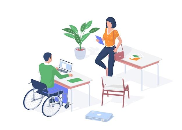 Behinderter schüler im einzelunterricht. kerl im rollstuhl sitzt schreibtisch mit laptop. frau mit tablette, die einen vortrag hält. qualitativ hochwertige bildung für menschen mit behinderung. vektorrealistische isometrie