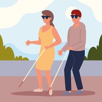 Behindertes blindes paar