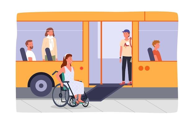 Behindertes mädchen im rollstuhl an der bushaltestelle. bus mit rampenausrüstung für menschen mit besonderen bedürfnissen