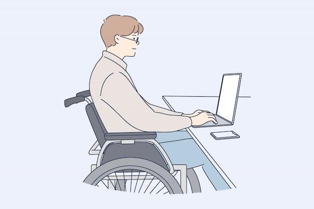 Behinderung, business, freiberuflich, arbeit, online-konzept