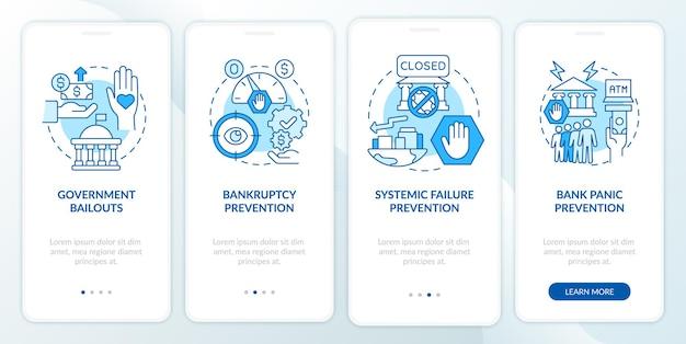 Behördliche bankregulierung beim onboarding der mobilen app-seitenseite. komplettlösung zur insolvenzverhütung in 4 schritten mit grafischen anweisungen und konzepten. ui-, ux-, gui-vektorvorlage mit linearen farbillustrationen