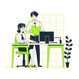 Bei der arbeit konzept illustration