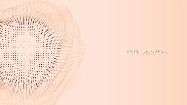 Beige abstrakter glitch-punkt-kugelhintergrund. elegante, stilvolle futuristische vorlage.