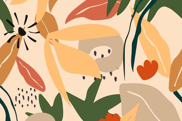 Beige ästhetischer hintergrund, nahtloser mustervektor des tropischen dschungels