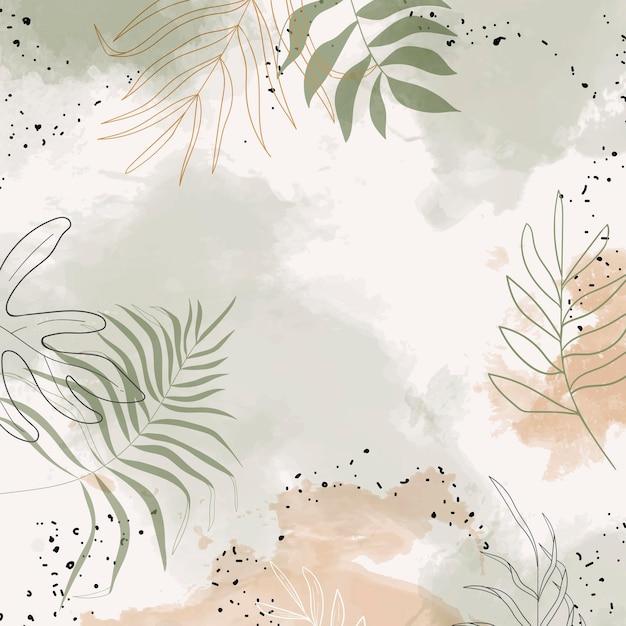 Beige belaubter aquarellhintergrund