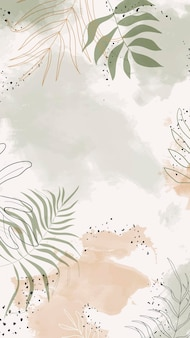 Beige belaubtes aquarell handy wallpaper vektor