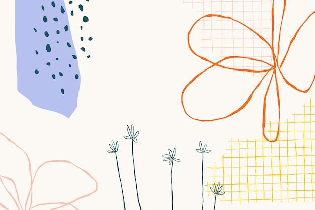 Beige blumenhintergrundvektor mit abstrakten gekritzelformen