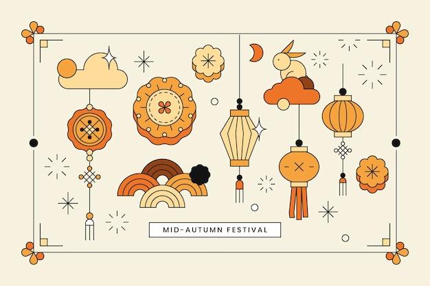 Beige chinese mid autumn festival hintergrundvektor