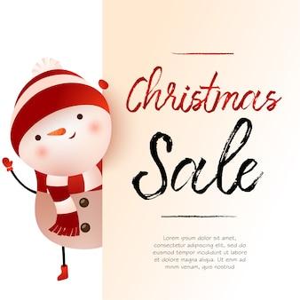 Beige fahnendesign des weihnachtsverkaufslichtes mit schneemann und beispieltext