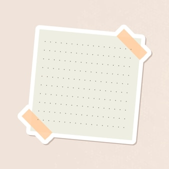 Beige gepunkteter notizbuch-tagebuch-aufkleber-vektor