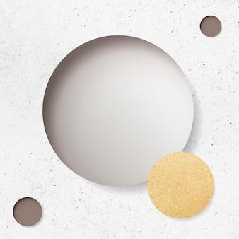 Beige kreis auf weißem marmorhintergrund