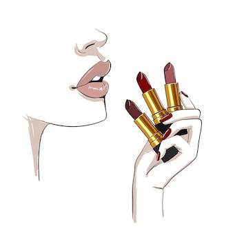 Beige lippen und hand mit lippenstiften