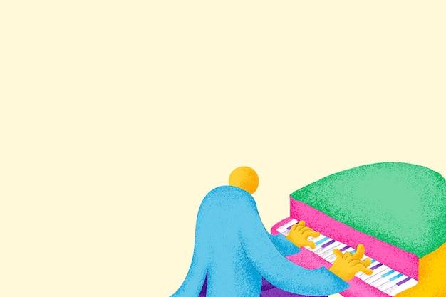 Beige musikalischer hintergrundvektor mit flacher grafik des pianistenmusikers