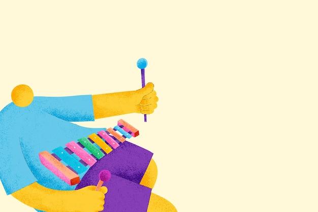 Beige musikalischer hintergrundvektor mit flacher grafik des xylophonistenmusikers