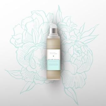 Beige realistischer cremespender, lotion, gel, mit designetikett. blumen pfingstrosen illustration