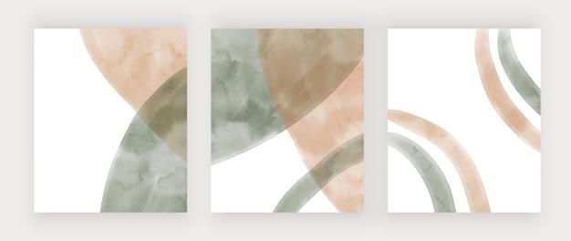 Beige und grüne handzeichnung aquarell boho wandkunstdrucke