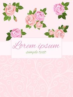 Beige und rosa rosenhochzeitseinladung