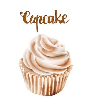 Beige walnuss cupcakes mit schlagsahne