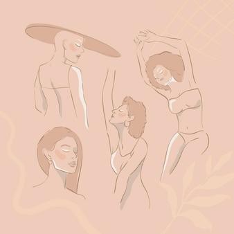 Beige weiblicher strichzeichnungssatzvektor