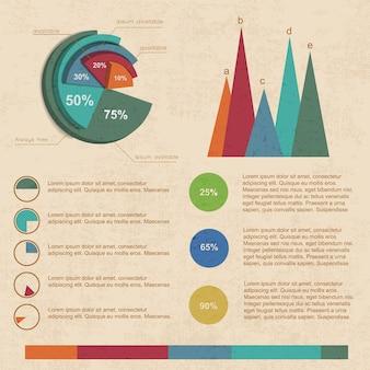 Beigefarbene infografiken mit verschiedenen arten von geschäftsdiagrammen für präsentationen im farbformat