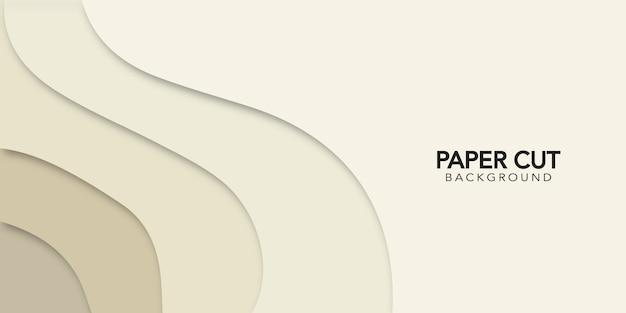 Beiger abstrakter hintergrund im papierschnittstil. design banner.