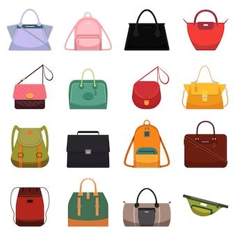 Beiläufige ledertaschen der frau, handtaschenschultaschen-retikulengeldbeutel-rucksacksymbol und mode-modell.