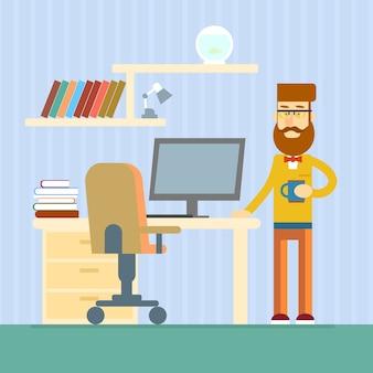 Beiläufiger geschäftsmann-schreibtisch-büro-arbeitsplatz