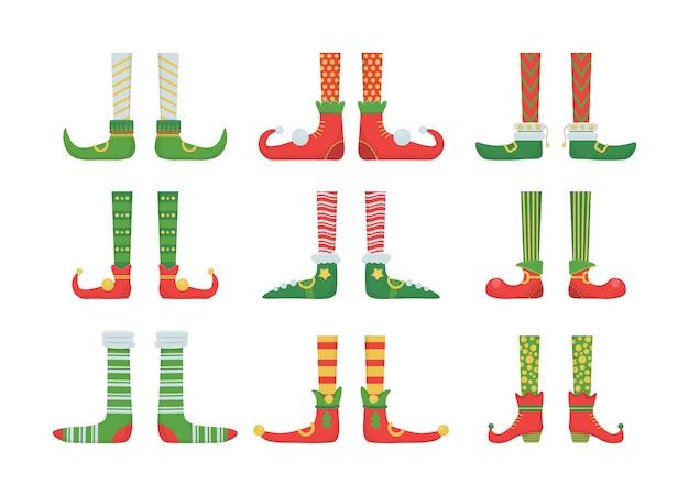 Beine weihnachtself in schuhen mit glocken. santa helfer schuhe und hosen. sammlung von niedlichen elfenbeinen, stiefeln, socken. kreative weihnachtskomposition. lustiger assistent des weihnachtsmannes. illustration.
