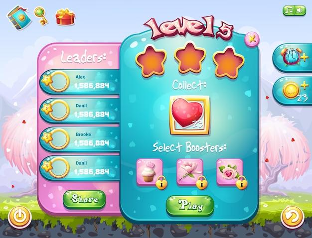 Beispiel des spielfensters zur aufgabe für ein computerspiel zum thema valentinstag