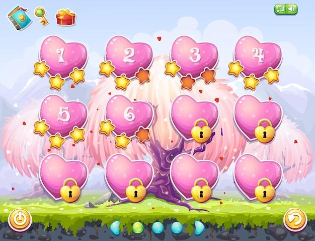 Beispiel für die auswahl von levels für computerspiele zum thema valentinstag. rosa herzen