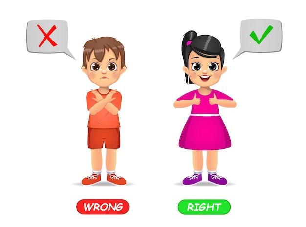 Beispiel für entgegengesetzte adjektive wort für kinder. isoliert auf weiß