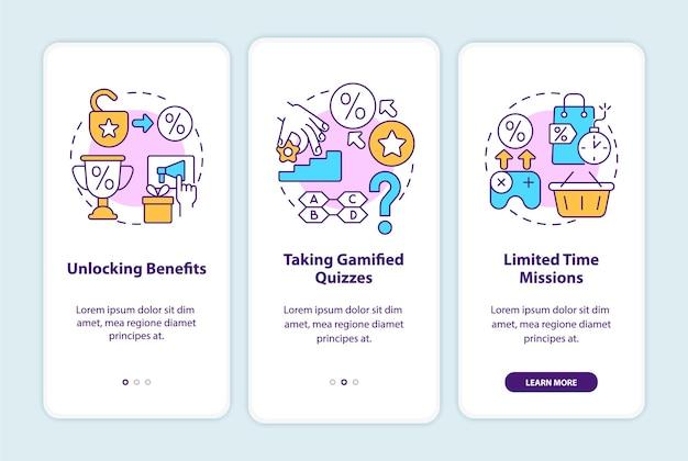 Beispiele für gamifizierte treueprogramme für das onboarding der mobilen app-seitenseite