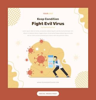 Beitragsvorlage mit arztillustration, die das virus mit maske und impfstoff bekämpft