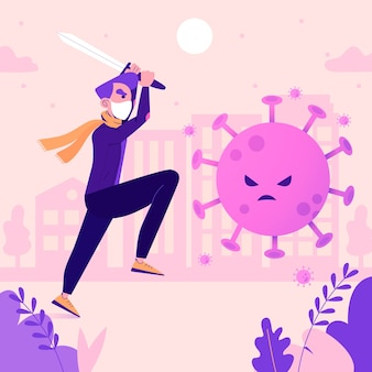 Bekämpfe das abgebildete virus