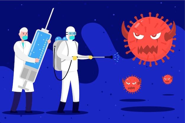 Bekämpfe das virus mit einer großen spritze, die mit heilung gefüllt ist