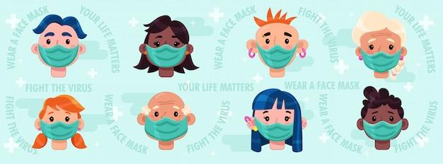 Bekämpfe das virus, trage die maske