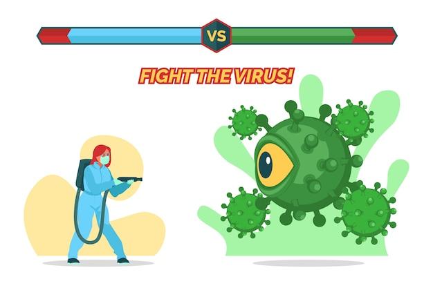 Bekämpfe das viruskonzept mit der frau