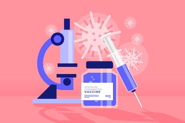 Bekämpfe das viruskonzept mit einem mikroskop