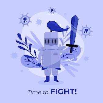 Bekämpfe das viruskonzept mit kostüm