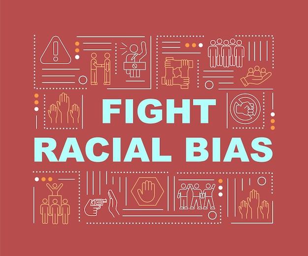 Bekämpfen sie das banner für rassistische vorurteile. schutz der sozialen rechte. infografiken mit linearen symbolen auf rotem hintergrund. isolierte kreative typografie. vektorumriss-farbillustration mit text