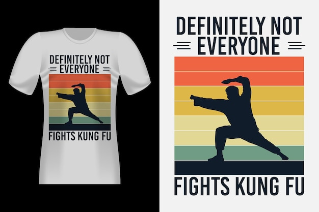 Bekämpft kungfu mit silhouette vintage retro t-shirt design